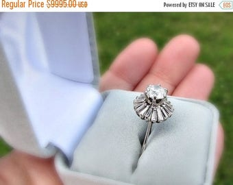 SALE Vintage 1950s Diamond Engagement Ring, 2.5 Carat Diamond BALLERINA Ring, Brilliant & Baguette Cut Diamonds, 14K White Gold Ring, Size 6