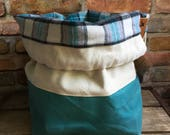 Natural Off White Teal/Turquoise Waxed Canvas Knit Crochet Plaid Cotton Flannel Loop Strap Drawstring Tote Project Flat Bottom Bucket Bag