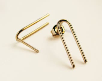 SALE - Basic collection - n3 - sterling silver arch earrings or gold plated brass, stud earrings, medium size