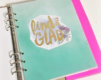 SALE A5 Size Watercolor Find The Glad Quote Dashboard Teal Purple Floral Laminated Dashboard A5 Filofax Large Kikki k Planner