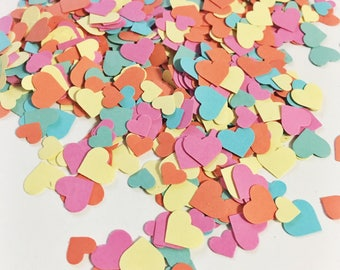 Adorable Heart Confetti in Yellow Orange Pink Blue and Green over 1000 hearts Wedding Decor Table Decorations Tiny Heart Confetti