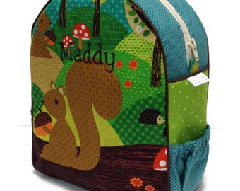 Personalized Toddler Backpack, Preschool Backpack, Squirrel Backpack, Boy Backpack, Hedgehog Backpack, Diaper Backpack, Book Bag, Tote Bag