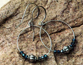 Silver Hoop Earrings, Blue Czech Glass Beads with Silver Accents, 1 Inch Hoop Earrings, Fine Wire Beaded Hoop Earrings