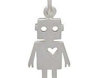 Robot Love Charm -22mm, Sterling Silver