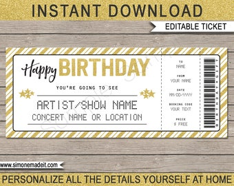 Birthday Gift   Printable Concert Ticket   Surprise Concert, Show, Music,  Band    Printable Concert Ticket Template