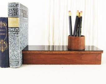 vintage modern desk organizer,mid century modern desk caddy,office decor,pencil holder,office supplies,workbench organizer,studio organizer