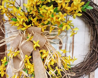 Front door wreath, Best seller, Wreath Great for All Year Round - Everyday Burlap Wreath, Door Wreath, Beautiful wedding wreath, forsythia