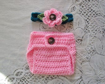 READY TO SHIP - 0 to 3 Mont Size - Pink and Teal Headband and Diaper Cover Photo Prop Set