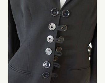 30% OFF SALE LOLITA Lempicka Premiere Black Suit Women's Paris France Designer Ladies Vintage French Small Jacket Skirt Retro Chic Work Clot