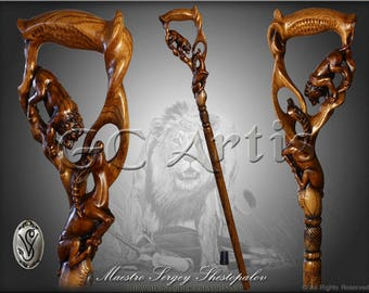LION & IMPALA Dark walking stick cane solid wood handle handcarved crafted authors made top art