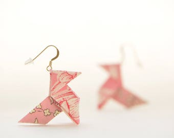 Sterling silver origami earrings pale pink Liberty