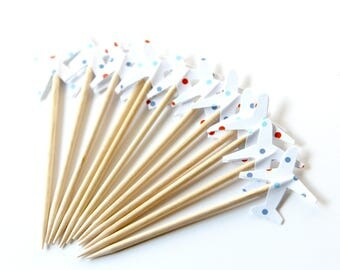 Airplane Cupcake Toppers, Polka Dot, Baby Shower, Birthday Party