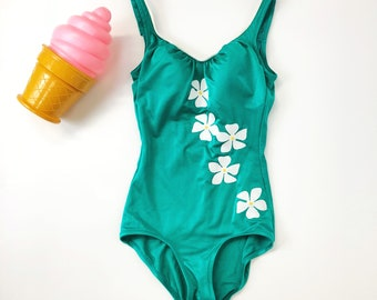 50s Daisy Swimsuit / Vintage One Piece Bathing Suit / Pin up Swimsuit / Swimsuit Bombshell / 1950s / Size XS/S