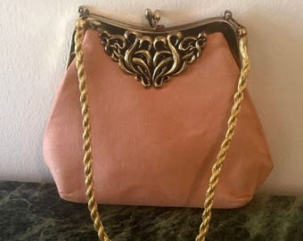 Vintage 60s Coral Evening Handbag with Gold Etching Detail