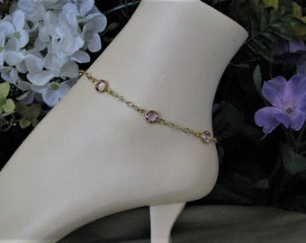 June Birthstone Gold Anklet, Mothers Birthstone Ankle Bracelet, Birthstone Anklet, Gold Chain Anklet, Birthstone Jewelry, Light Amethyst