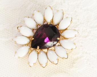 Milk Glass Rhinestone Purple Stone Flower Brooch 1960s Mid Century Jewelry