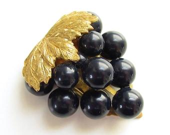 Large Blue Black Grape Cluster Dress Clip Brass Beaded 1920s 1930s Vintage