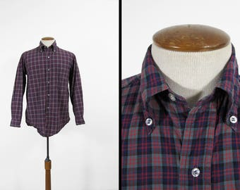 Vintage 60s Brooks Brothers Plaid Shirt Button Down Collar Red Blue - Size 15 1/2 R