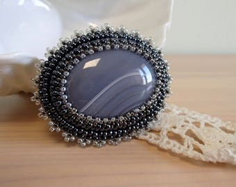 Gray Agate Brooch, Bead embroidered Brooch, Beadwork Brooch , Handmade Jewelry
