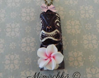 necklace tiki tikki exotic flower pin up retro