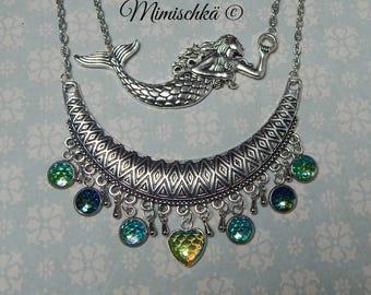 necklace mermaid siren hearts scale