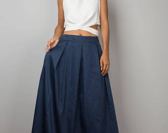 Maxi Skirt, blue skirt, long blue skirt, navy blue skirt, pleated skirt, blue maxi skirt, women's skirt : Feel Good Collection No.3