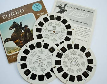 Vintage 1950's Sawyer's  Zorro Series Complete 3 Reel View Master Set with Original Story Booklet and Envelope - Children's Adventure Story