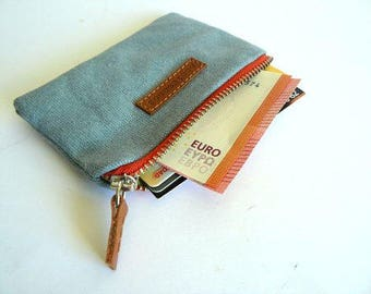 Coin purse waxed canvas - aseismanos Handmade  sky blue retro coin purse with salmon zipper -wallet-Gift form him-gift for her