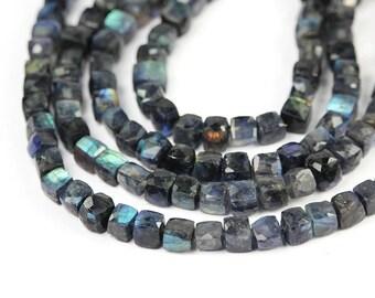 Labradorite Micro Faceted 3D Cube Beads 4 Green Blue Flash Grey Semi Precious Gemstones