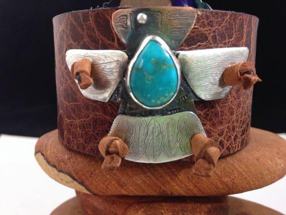 Handmade Leather Cuff, Southwestern, Thunderbird, Kingman Arizona Turquoise, Wide Brown Water Buffalo Leather Cuff, One Of A Kind