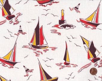 Vintage Feedsack Fabric Nautical Sailboat Novelty Boat Ship Yacht Buoy Lighthouse Ocean Feed Sack 37 x 47
