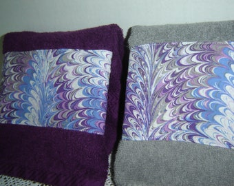 Dark purple (eggplant) or gray hand/dish towel w/batik-like fabric panel, 100% cotton terry towel, unisex towel, hostess gift, under 10