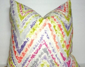 SPRING FORWARD SALE Kaufmann Watercolor Chevron Pink Coral Green Purple Linen Pillow Covers Decorative Throw Pillow Covers All Sizes