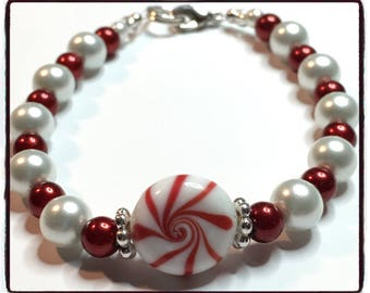 Red and White Peppermint Pearls Christmas Bracelet