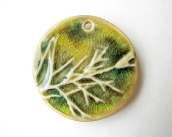 Green Tree Branch Pendant Stoneware Clay