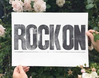 ON SALE - Rock on - Letterpress art print