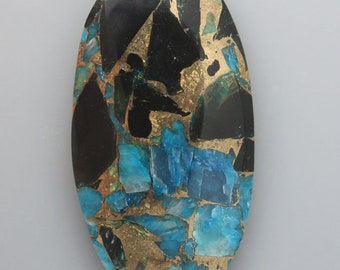 Blue Calcite Obsidian and Bronze