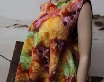 "Orange, green, silk and felt top bordeaux ""Light Eva"""