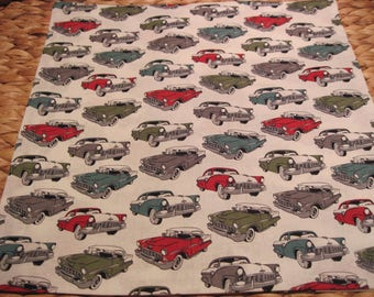 """14"""" x 14"""" PILLOW COVER - Classic Chevys and Ford Bicolor Cars from the 1950's"""