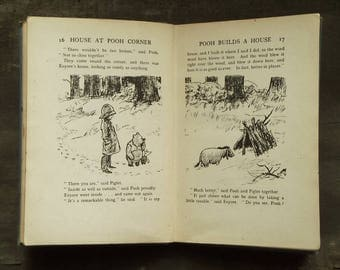 Vintage Winnie the Pooh book illustrated by E. H. Shepard The House at Pooh Corner by A. A. Milne, vintage children's book.