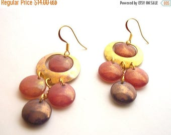 CLEARANCE SALE Boho Brass Earrings - Chandelier, Hammered Hoop, Pink, Purple Lentil Beads with Gold Plated Ear Wires.  EMB009.