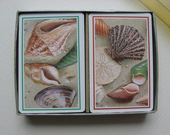SALE Vintage Collectible Playing Cards//Cape Shore Line/ Made in Canada for Yarmouth MA //2 Complete Decks Original Package//Sea Shells