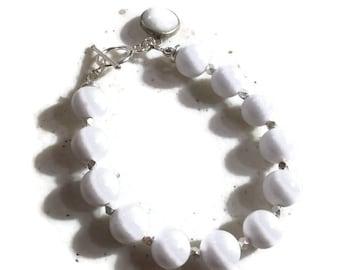 White Bracelet - Jade Jewelry - Gemstone Jewellery - Charm - Sterling Silver - Fashion