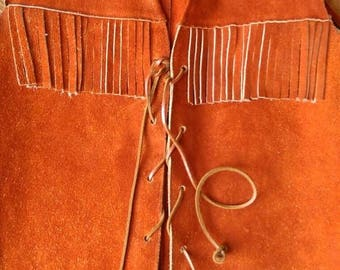 ON SALE Gorgeous 60s/70s Brick Orange Leather Suede Fringe Long Vest