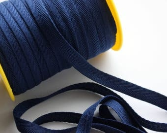"""3/8"""" Polyester Twill Tape - Navy Blue - 5 yards"""