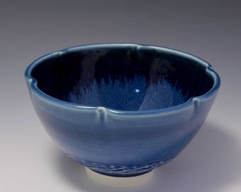 Wheel-thrown and Altered Porcelain Bowl with Blue Glaze and Chattering Texture by Hsinchuen Lin