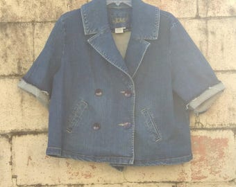 90s Distressed Denim Blazer Double Breasted Short Sleeve