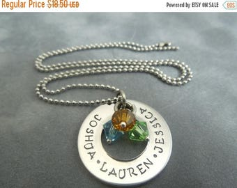 SALE Personalized Mother's necklace, handstamped stainless steel washer with swarovski crystal birthstones