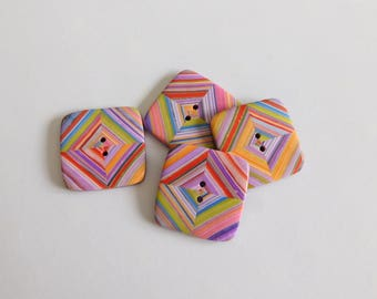Square Polymer Clay Buttons, set of 4, 24 mm buttons