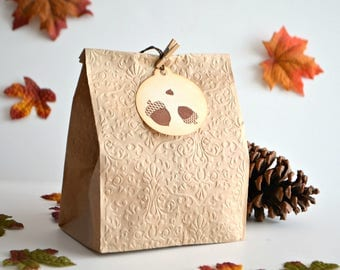Acorns Tags, Fall Favor Tags, Autumn Favor Tags, Thank You Tags, Hand Stamped Tags, Étiquettes Cadeaux Trois Glands